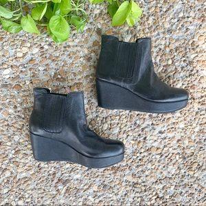 BCBG Black Karol Leather Platform Wedge Booties